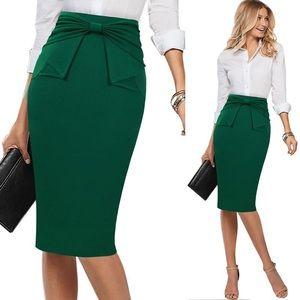 Green Pleated Bow High Waist Bodycon Pencil Skirt